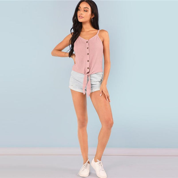 MORE TO SEE Pink Buttoned Top - OutFancy