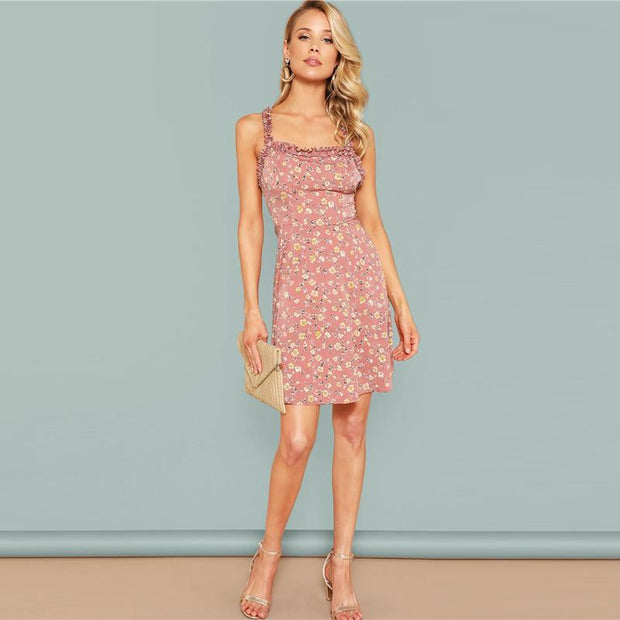 Floral Criss-Cross Back MINI Dress - OutFancy