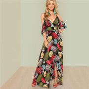 Ethnic Floral Print Slim Big Hem Maxi Dress - OutFancy