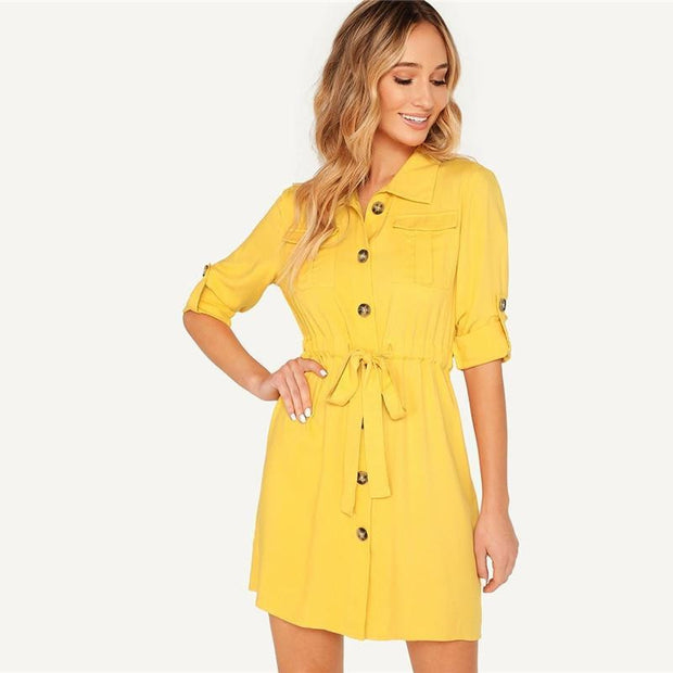 Elegant Front Roll-Up Sleeve MINI Dress - OutFancy