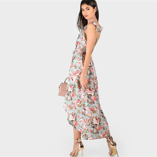 Floral V Neck Sleeveless Slip Maxi Dress - OutFancy