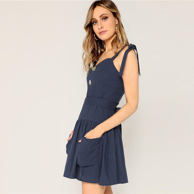 Sexy Knotted Shoulder Button MINI Dress - OutFancy
