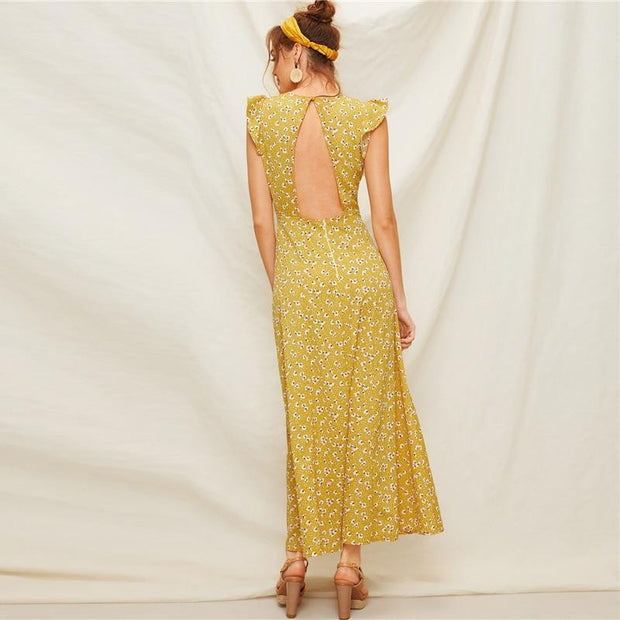 Butterfly Sleeve Boho Ladies Maxi Dress - OutFancy
