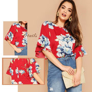 OutFancy  Floral  Flounce Sleeve - OutFancy