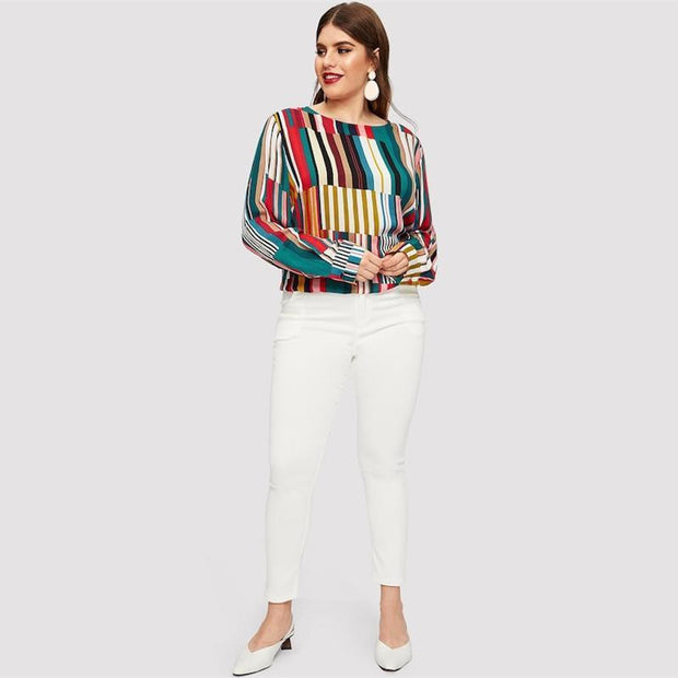 OutFancy Colorblock Stripe Blouse - outfancy