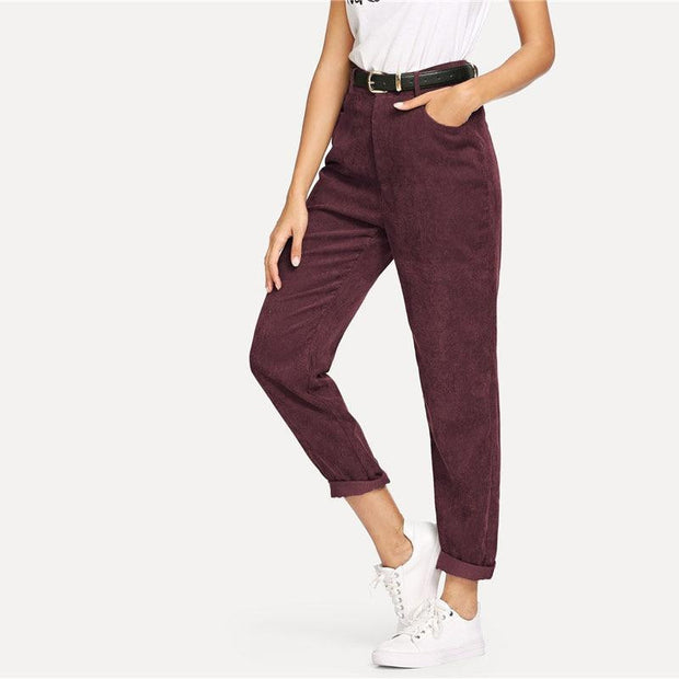 TAKE A GUESS Burgundy Corduroy Pants - OutFancy