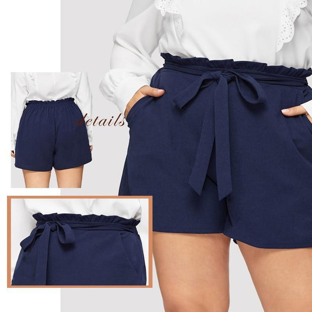 KNOT YOUR GIRL Plus Size Navy Shorts - OutFancy