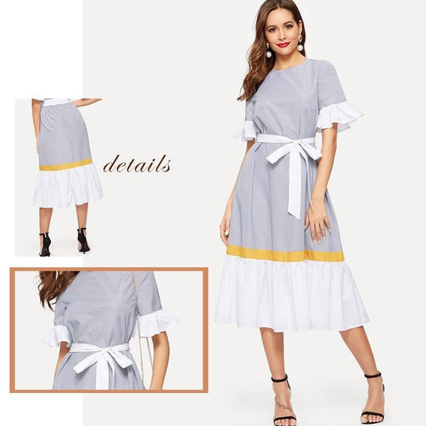 ELEGANT BEAUTY  Colorblock Flounce Sleeve Maxi Dress - OutFancy