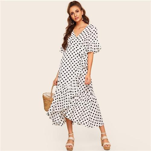 OutFancy Polka Dot Print V Neck Maxi Dress - OutFancy
