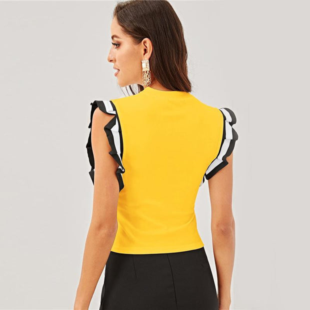 MORE TO LIFE Striped Ruffle Armhole - OutFancy