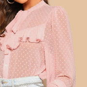 Pink Ruffle Tie Neck Dot Jacquard Top - outfancy