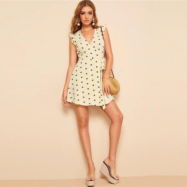 Stylish Polka Dot Belted Wrap MINI Dress - OutFancy