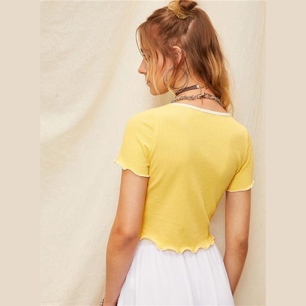 JUST CHILL OFF Yellow Crop Top - OutFancy