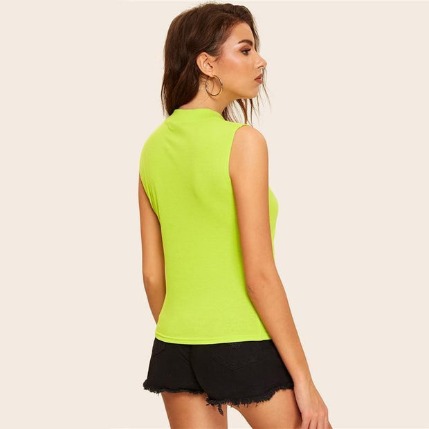 AFFORD MY LOVE Neon Green Sleeveless Top - OutFancy