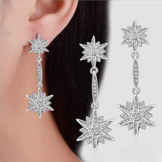 Women Hexagram Dangle Crystal Earring