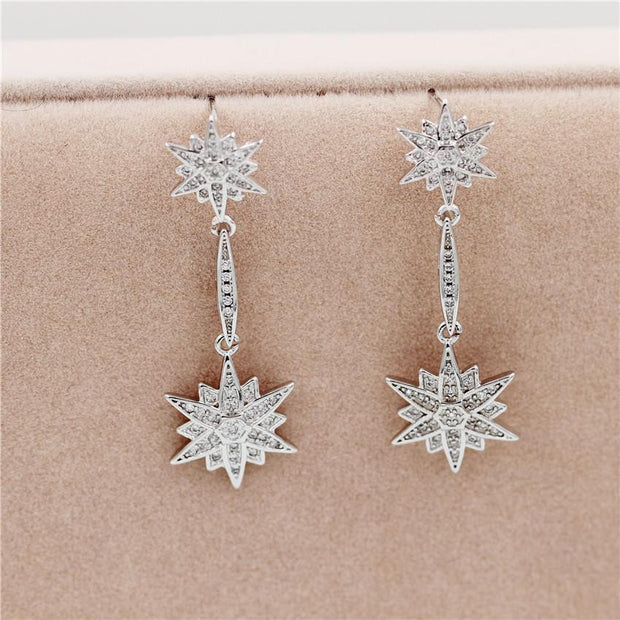 Women Hexagram Dangle Crystal Earring - OutFancy
