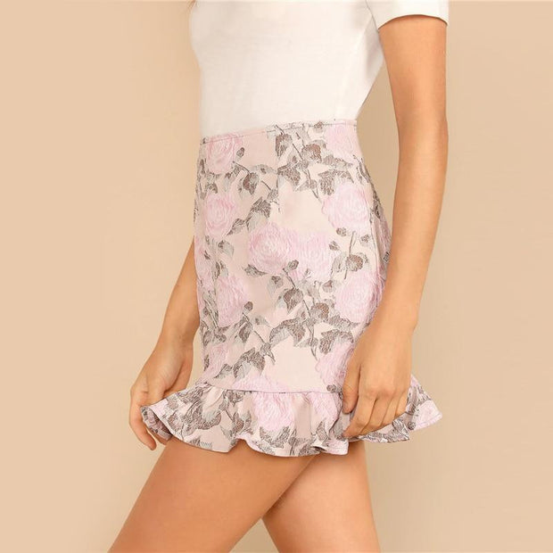 LOVE HURTS Pink Floral Skirt - OutFancy