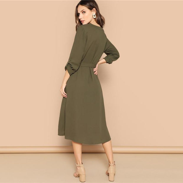OutFancy Army Belted Roll Up Sleeves Maxi Dress - OutFancy