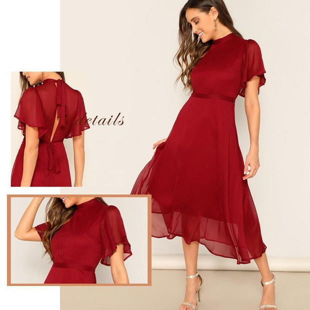 SHE IS GRACE Flutter Sleeve Chiffon Dress - outfancy