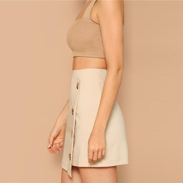 BACK AND BETTER Buttoned Skirt - OutFancy