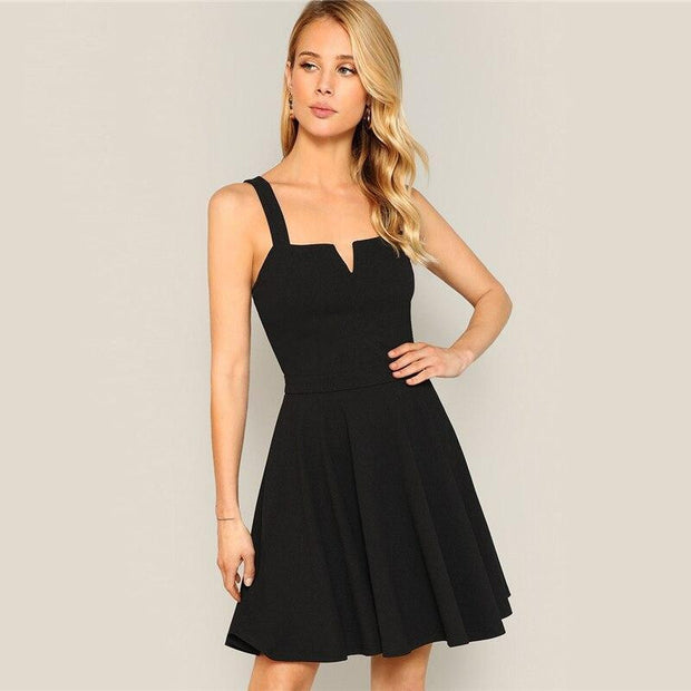 Elegant V Cut Skater Cami MINI Dress - OutFancy