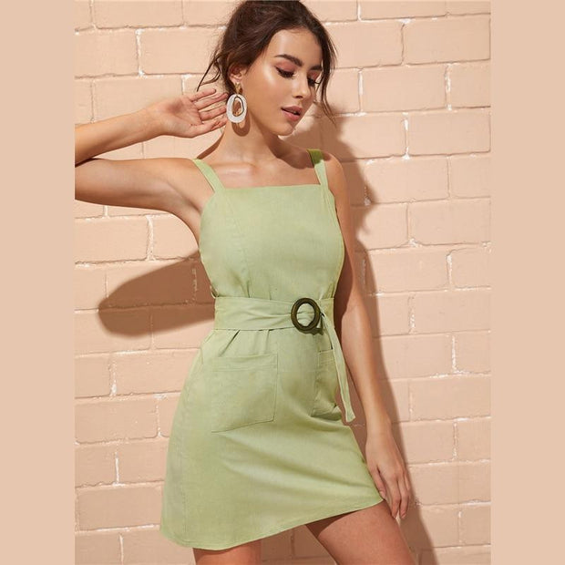 Ethnic Back Belted Sheath MINI Dress - OutFancy