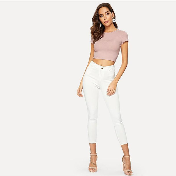HEY YOU  Crop Rib-knit Top - OutFancy