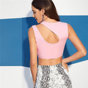 ROMANTIC MOOD Pink Cut Shoulder Crop Top - OutFancy