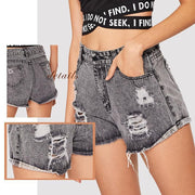 GOING PLACES Ripped Denim Shorts - OutFancy