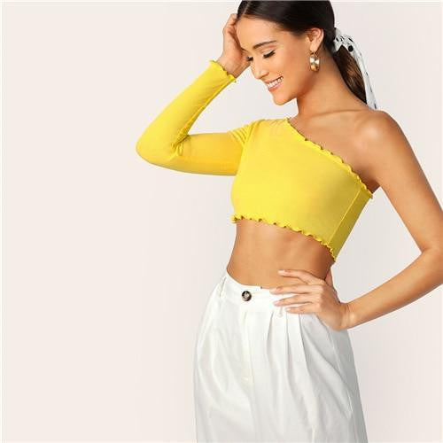 One Shoulder Lettuce Trim Crop Tee - OutFancy