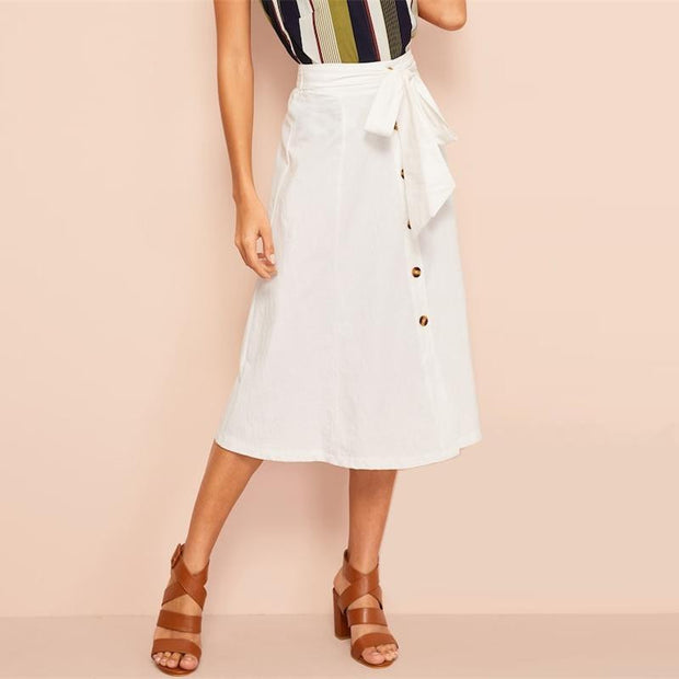 LEADING THE WAY Buttoned Up Skirt - OutFancy