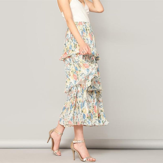 HARDLY IN LOVE Floral Layered Skirt - OutFancy