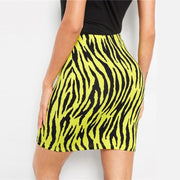 WILD ONE Neon Yellow Tiger Bodycon Skirt - OutFancy