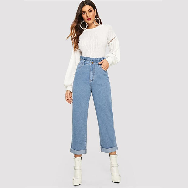 LET'S STAY TOGETHER Paperbag Waist Jeans - OutFancy