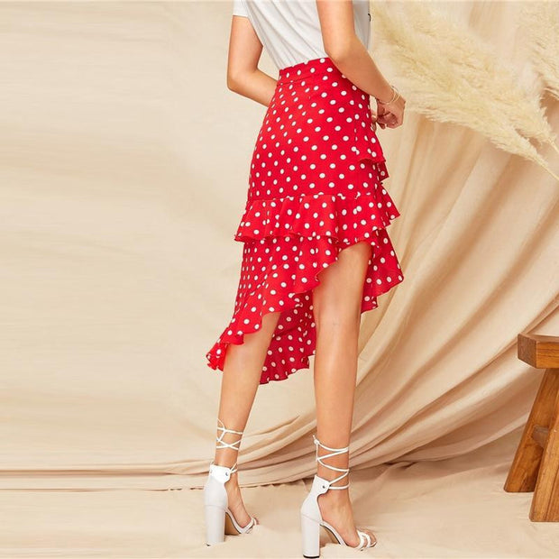 GET WHAT I WANT Red Polka Dot Skirt - OutFancy