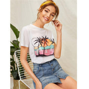 VACATION ESCAPE Tropical Print Tee - outfancy