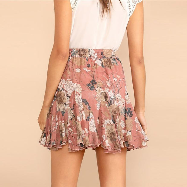 COULDN'T BE BOTHERED Pink Flower Skirt - OutFancy