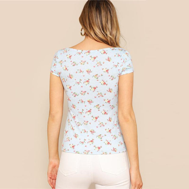 MY SENSUAL Ditsy Floral Tee - OutFancy