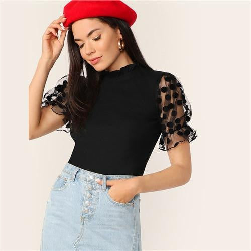 OutFancy Mesh Puff Sleeve Top - OutFancy