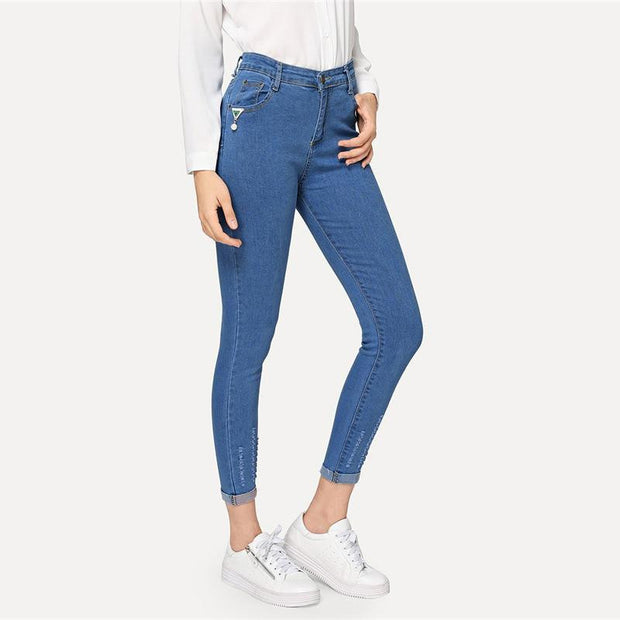 SIMPLE THINGS Roll Up Hem Jeans