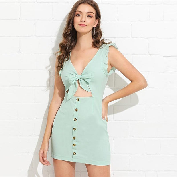 Deep V Neck Knot MINI Dress - OutFancy