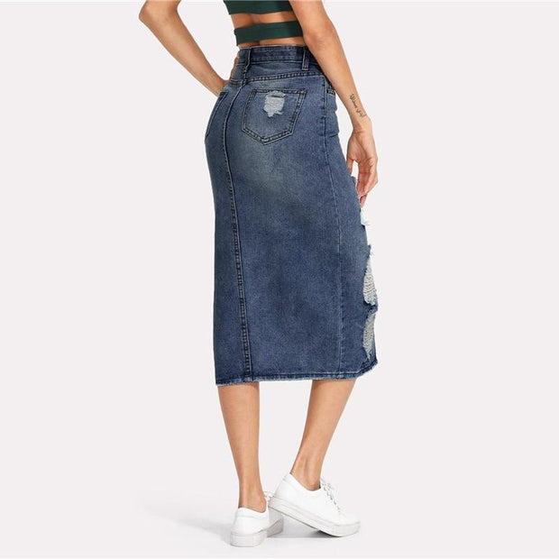 EXPRESSION Split Denim Skirt - OutFancy