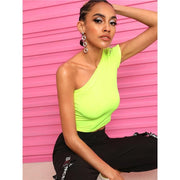 JUST DO IT Neon Lime Neck Crop Tee - OutFancy