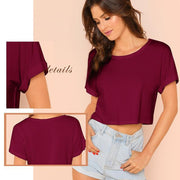YOUR EVERYDAY Roll Up Sleeve Crop Top