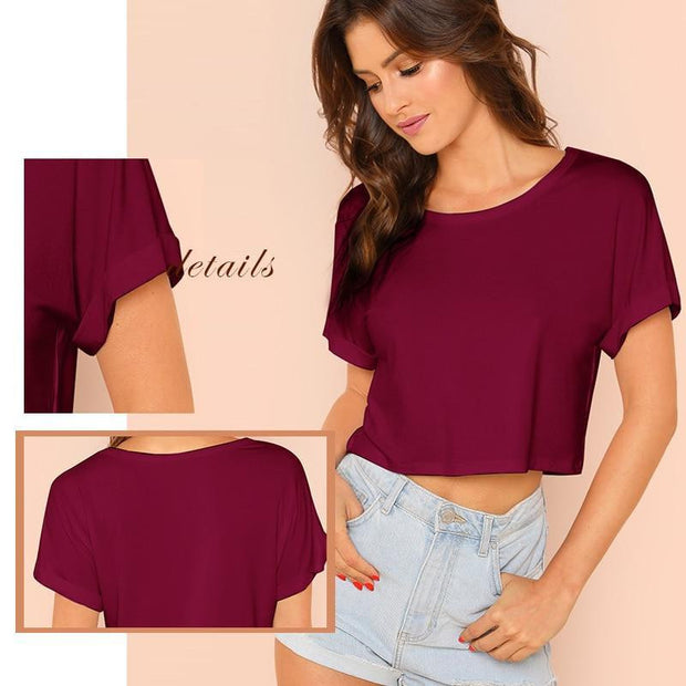 YOUR EVERYDAY Roll Up Sleeve Crop Top - OutFancy