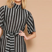 GLAD WE MET Flutter Sleeve Belted Dress - OutFancy