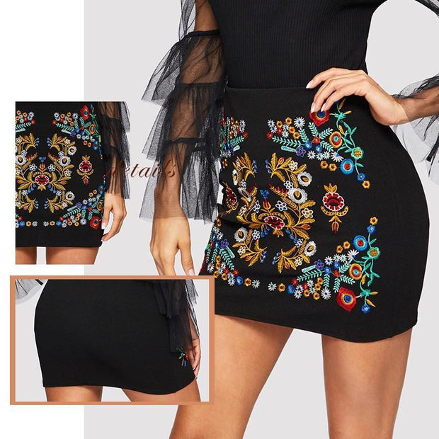 THE BEST OF ME Botanical Embroidered Skirt - OutFancy