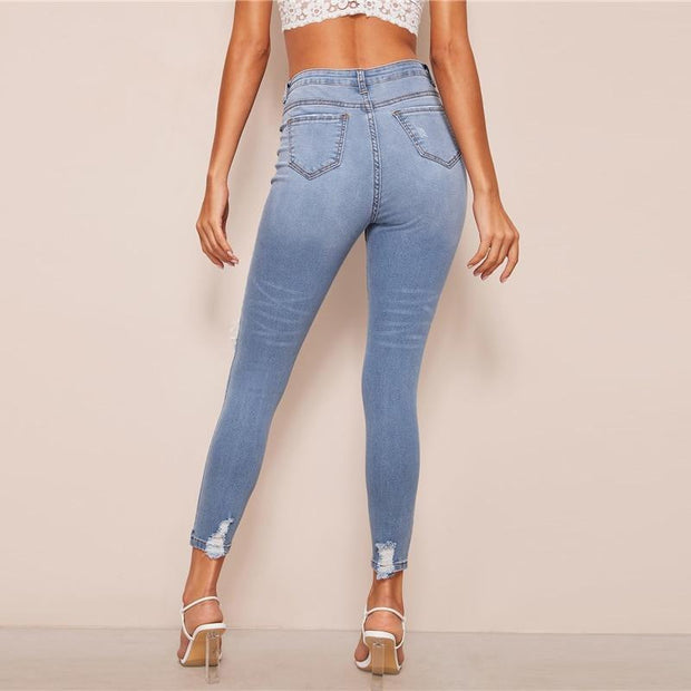 SHE'S CRAZY Ripped Skinny Jeans - OutFancy
