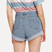 STILL CHILLIN Roll-Up Denim Shorts - OutFancy