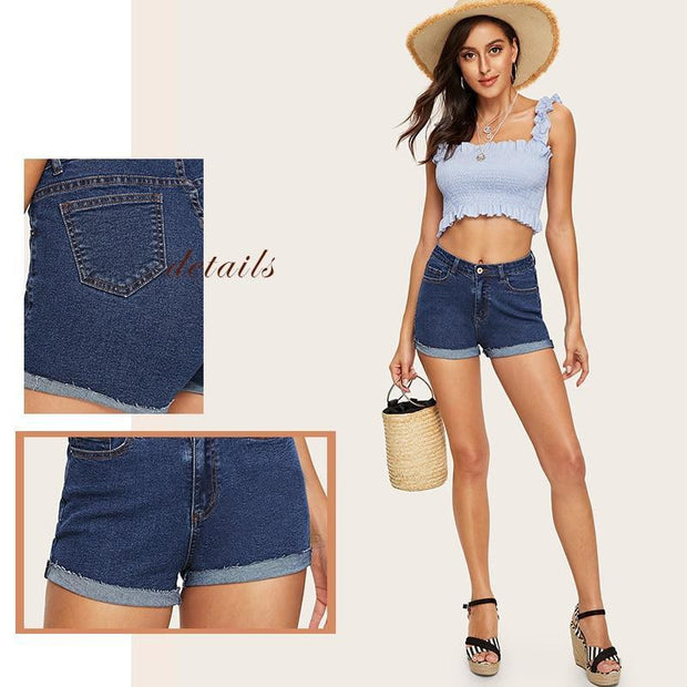 AFTER LIFE HIGH Roll Hem Denim Shorts - OutFancy
